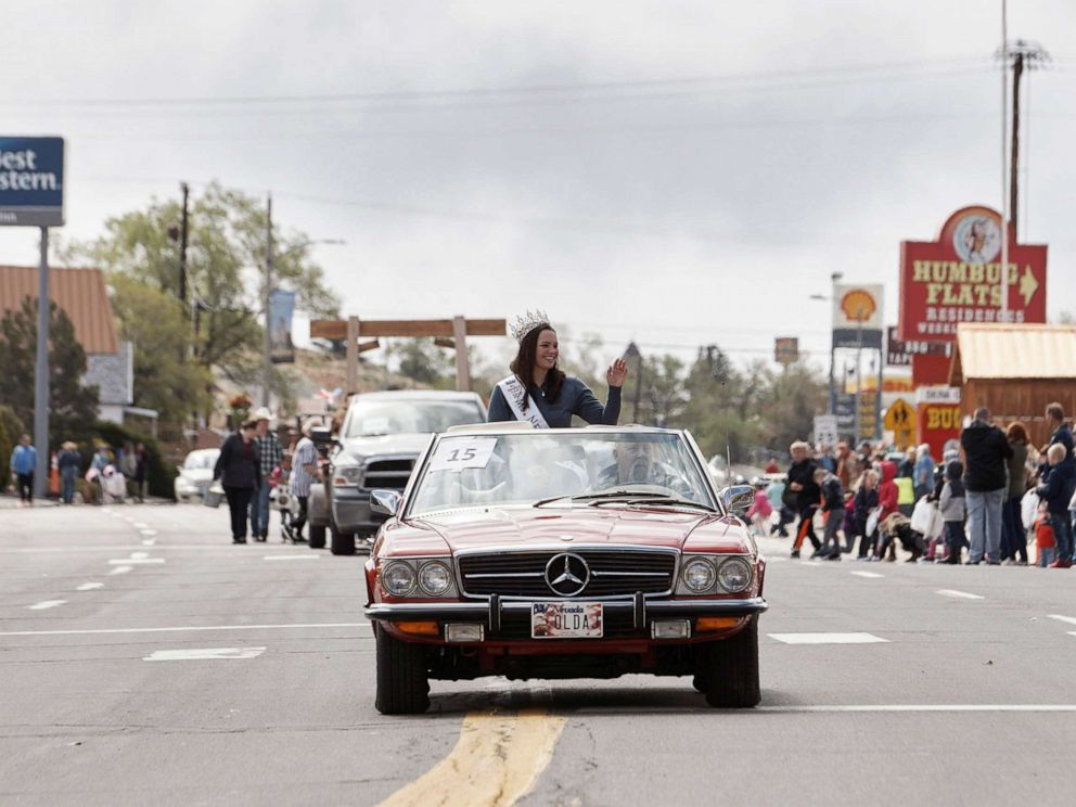 PHOTO: In this May 25, 2019, file photo, Ms. Nevada State Katie Williams waves from a car during a parade in Tonopah, Nevada.