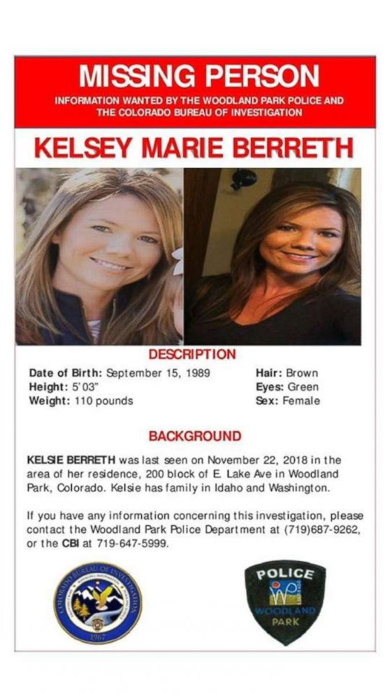 PHOTO: A missing person poster for Kelsey Berreth.