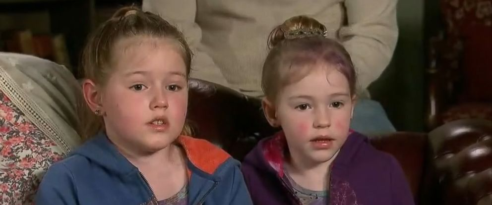 PHOTO: Sisters 8-year-old Leia Carrico and 5-year-old Caroline Carrico speak to the media about surviving in the woods for 2 days.