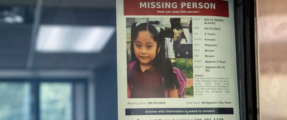 PHOTO: A missing poster for 5-year old Dulce Maria Alavez is posted on the window of the Bridgeton Police department in Bridgeton, N.J., Sept. 18, 2019.