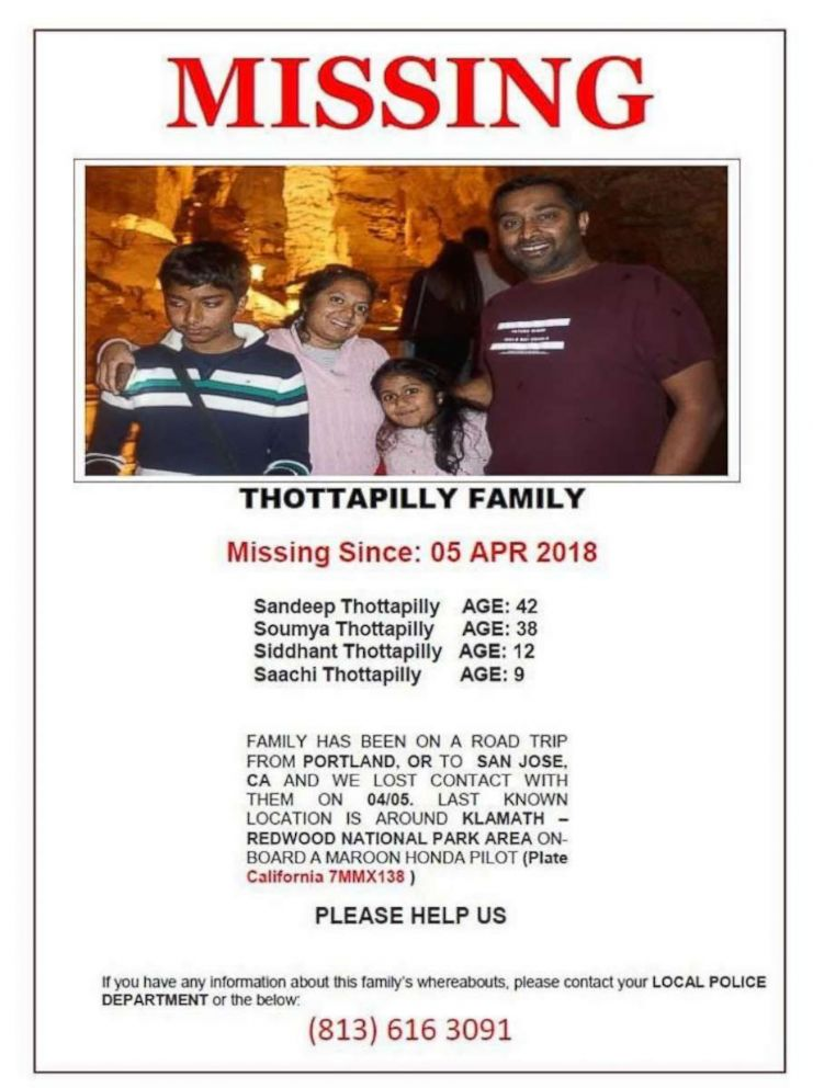PHOTO: The Thottapilly family from Valencia, Calif., is missing.