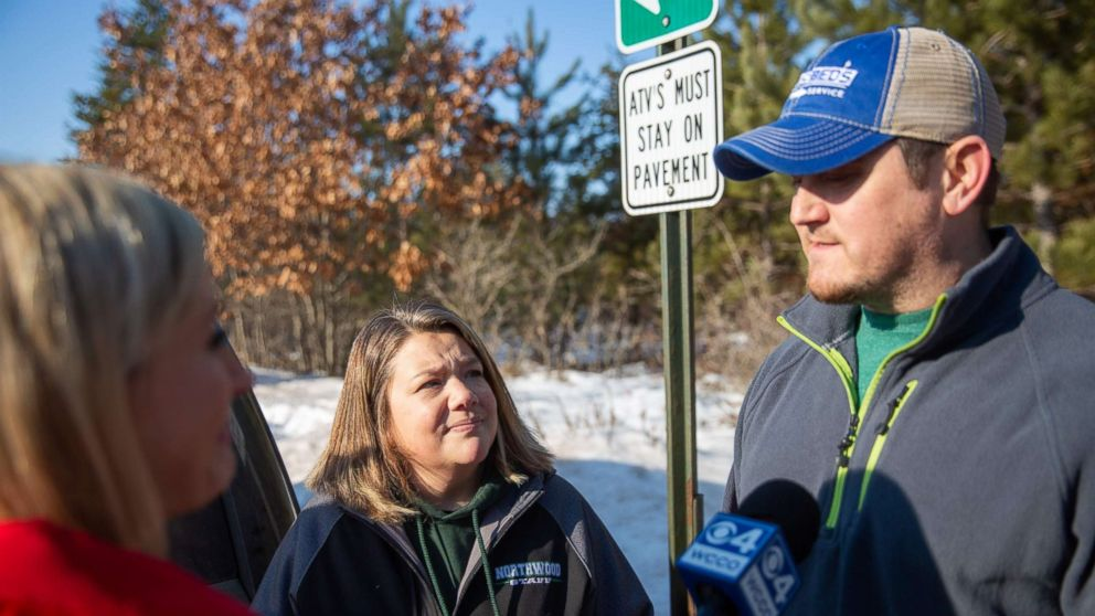 Peter and Kristin Kasinkas speak to the press on Jan. 11, 2019 in Gordon, Wis., one day after missing teenager Jayme Closs escaped captivity.