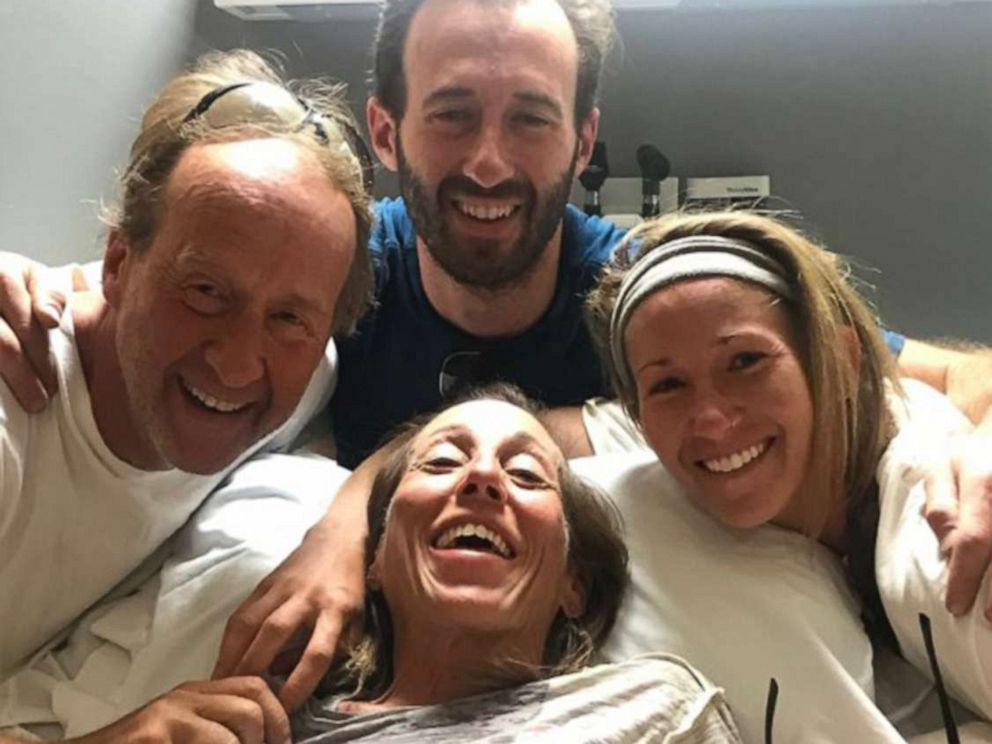 PHOTO: Sheryl Powell, 60, of Huntington Beach, is surrounded by her family in a hospital on July 15, 2019, after going missing for four days in California.