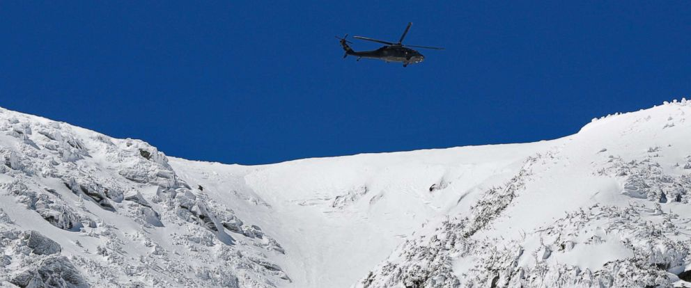 PHOTO: A National Guard helicopter flies over Mount Washington while searching for missing hiker, Christophe Chamley, April 23, 2018, who was later found at a luxury hotel.