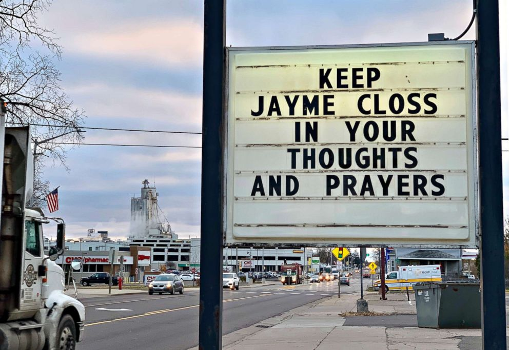 A sign is pictured in the small town of Barron, Wis., Oct. 23, 2018, where 13-year-old Jayme Closs was discovered missing Oct. 15 after her parents were found fatally shot at their home. A search was being organized to find the couples missing daughter.