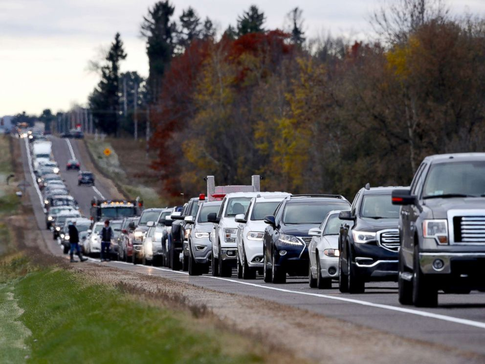 PHOTO: Volunteers lined up along Highway 25 just north of Barron, Wis., on Oct. 23, 2018, to help in the Jayme Closs search.