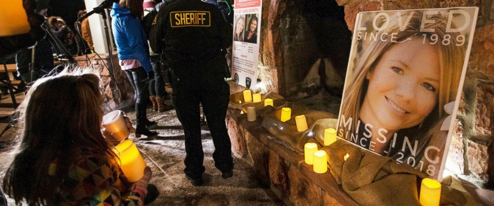 PHOTO: In this Dec. 13, 2018 file photo, community members hold a candlelight vigil for Kelsey Berreth under the gazebo of Memorial Park in Woodland Park, Colo. Authorities have arrested the fiance of the Colorado woman who was last seen on Thanksgiving.