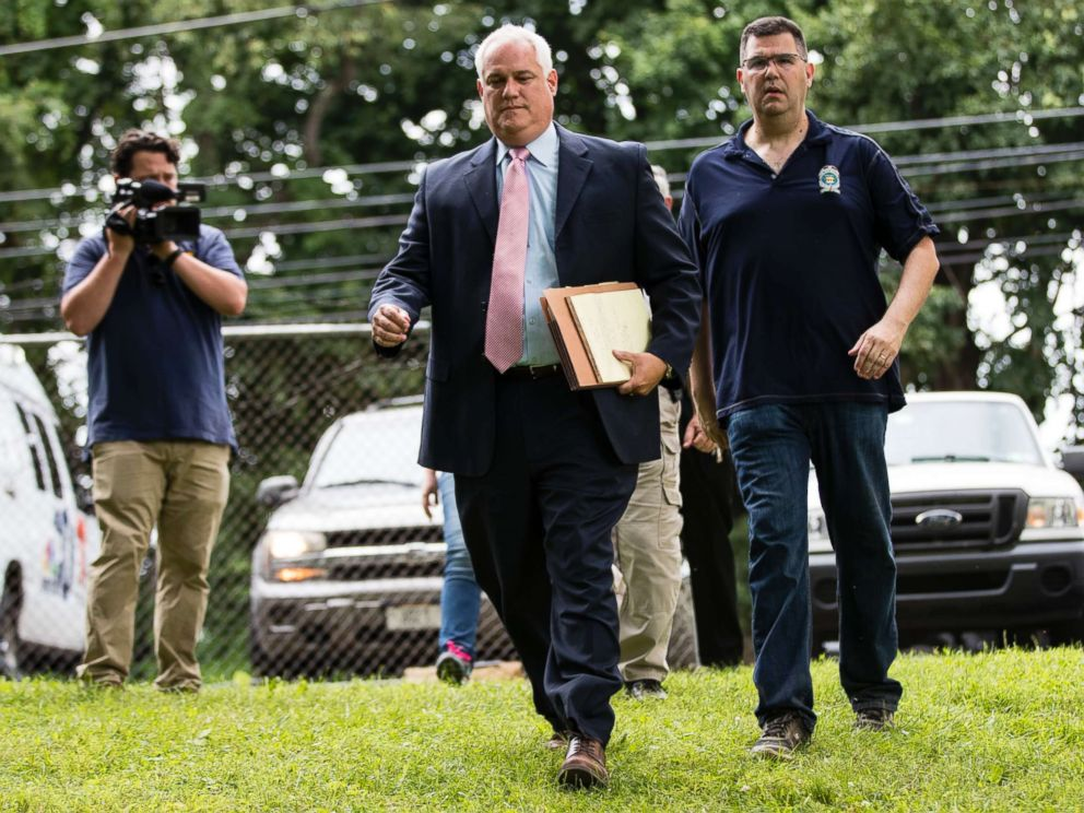 PHOTO: Matthew Weintraub, District Attorney for Bucks County, Pa., left, and Gregg Shore, First Assistant District Attorney arrive for a news conference, Wednesday, July 12, 2017, in Solebury, Pa.