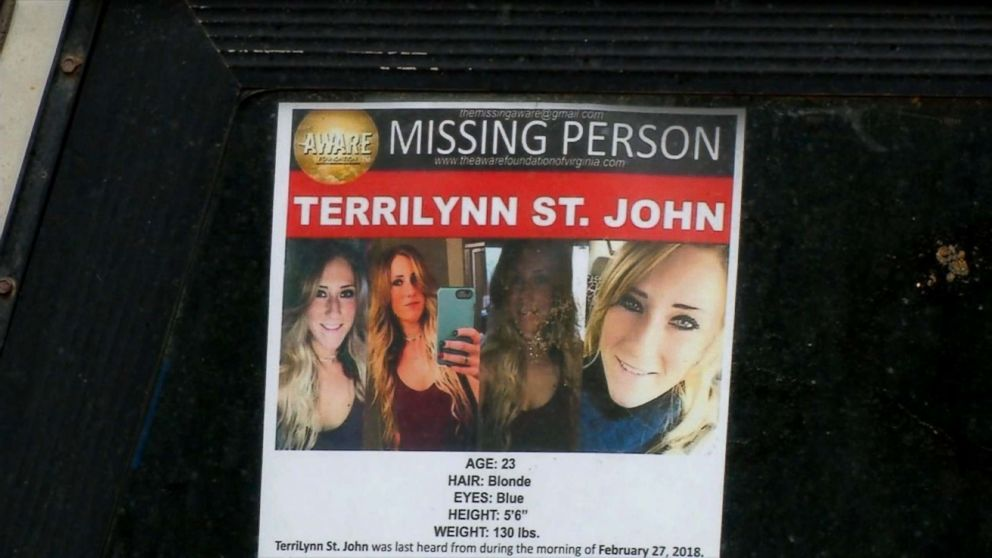 TerriLynn St. John, 23, was reported missing Feb. 27, 2018, when she didn't show up for work, according to officials.
