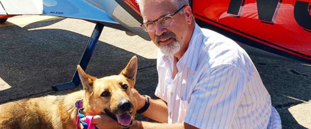 PHOTO: Dr. Bill Kinsinger with Jojo, a dog from Fort Worth Animal Care & Control, June 6, 2016 in Illinois. Kinsinger failed to land his plane in Central Texas and was later tracked by fighter jets flying over the Gulf of Mexico and appeared unresponsive.