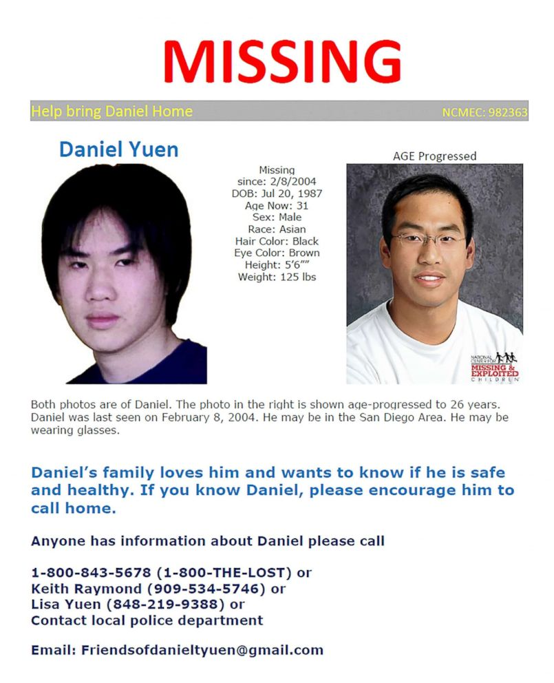 PHOTO: Poster seeking information on Daniel Yuen