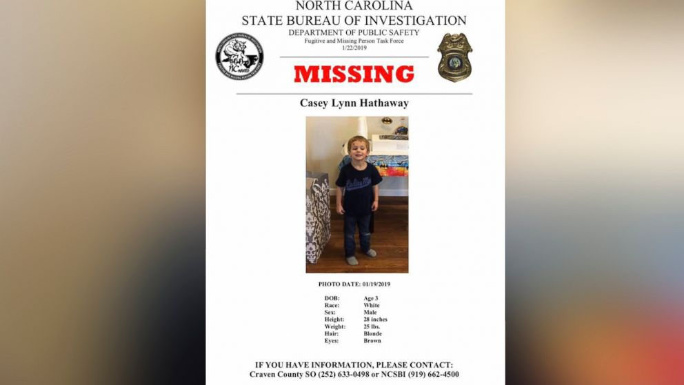 Authorities are searching Casey Lynn Hathaway, a missing 3-year-old boy.