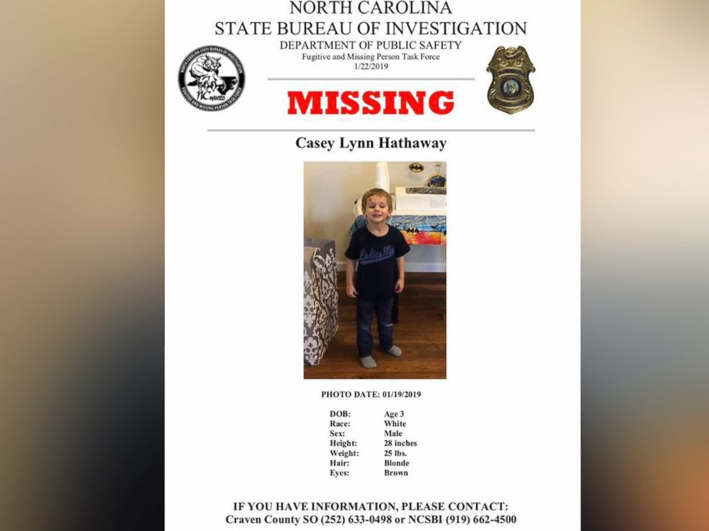 Missing 3-year-old Casey Hathaway found alive in North Carolina