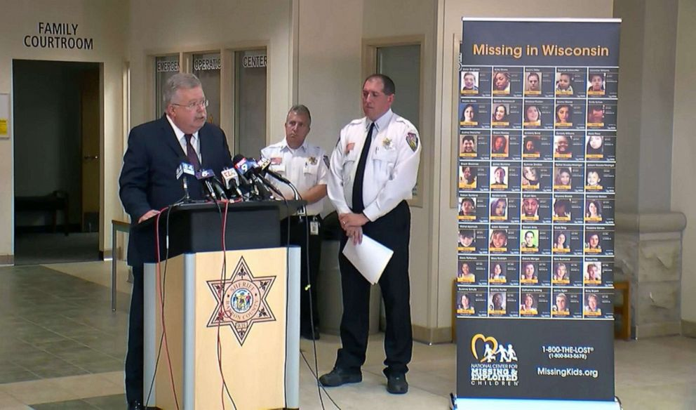 PHOTO: A poster showing people missing in Wisconsin is displayed during a press conference held by the Barron County Sheriffs Office nearly one year after Jayme Closs was abducted, Oct. 14, 2019.