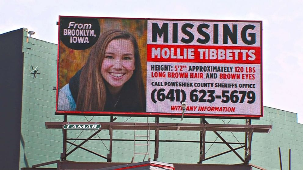 Missing Person billboard for University of Iowa student Mollie Tibbetts.