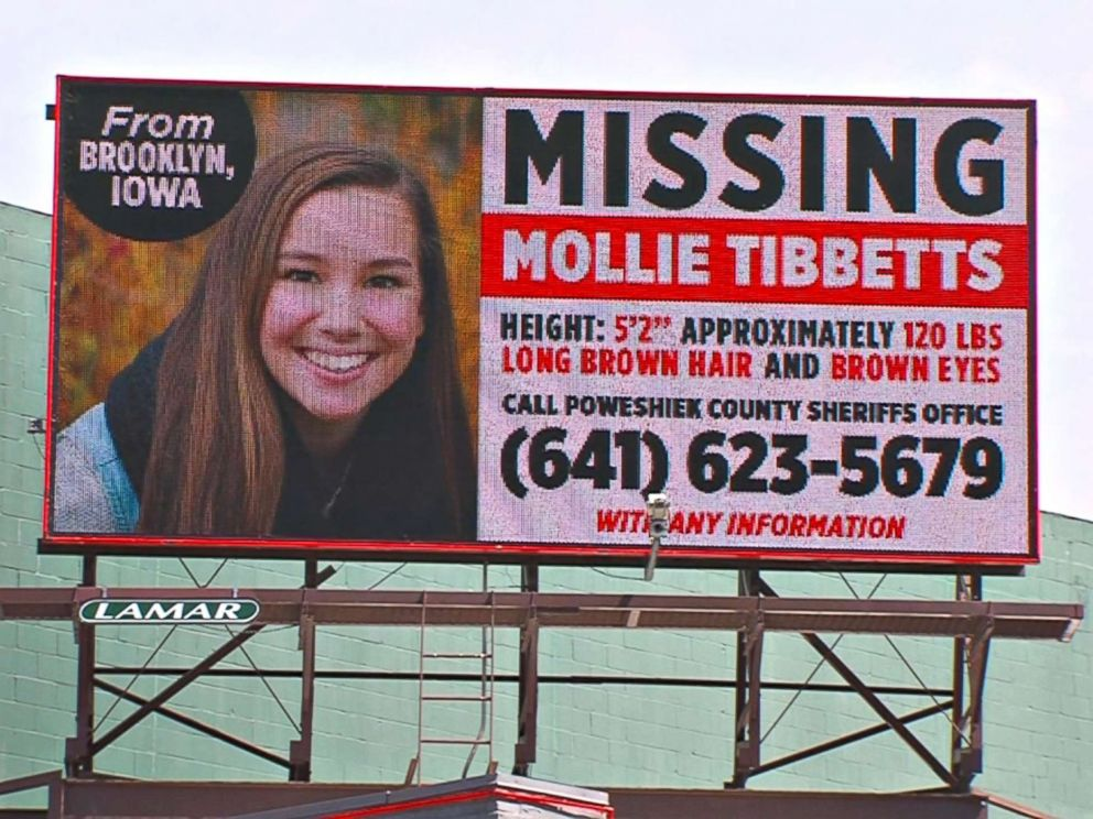PHOTO: A missing person billboard for University of Iowa student Mollie Tibbetts.