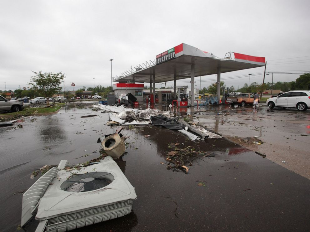 PHOTO: A gas station is damaged following severe weather, Saturday, April 13, 2019 in Vicksburg, Miss. Authorities say a possible tornado has touched down in western Mississippi, causing damage to several businesses and vehicles.