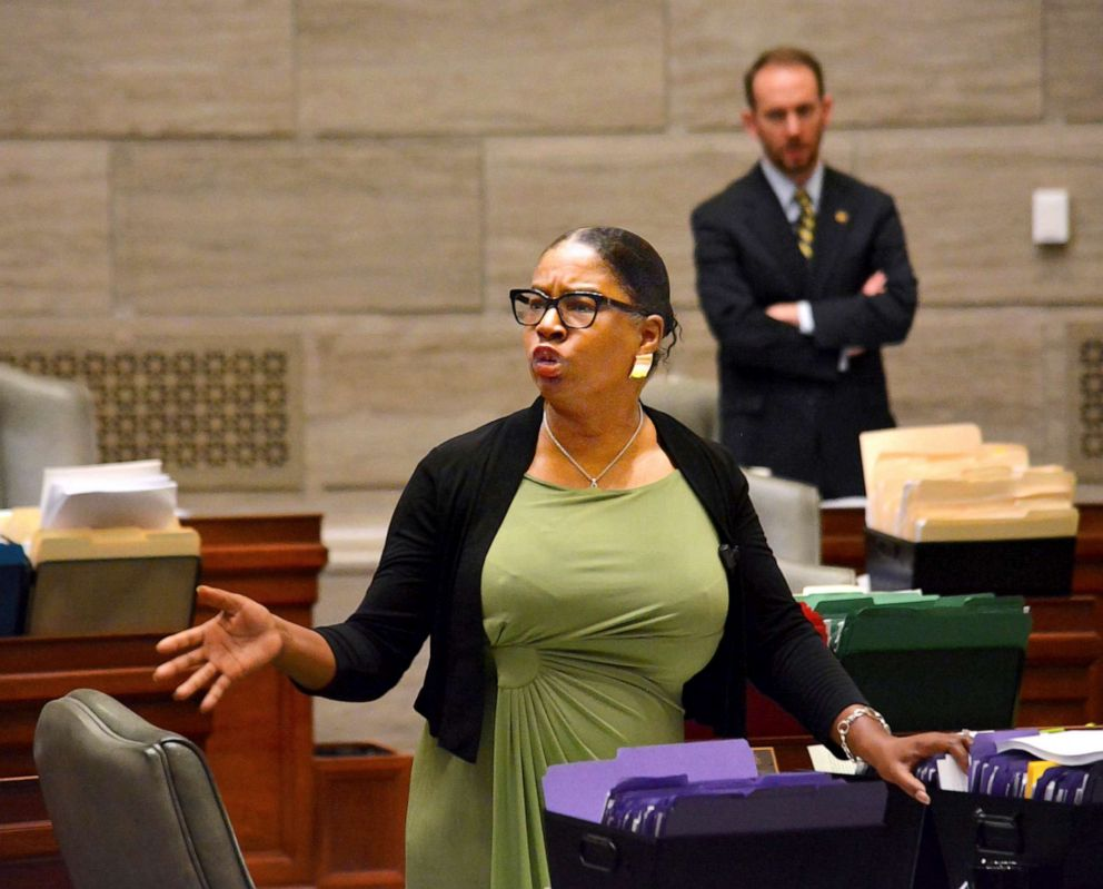 PHOTO:During debate in the Missouri Senate in Jefferson City on Wednesday, May 15, 2019, Freshman senator, Karla May, makes a point regarding Missouris proposed new abortion law.