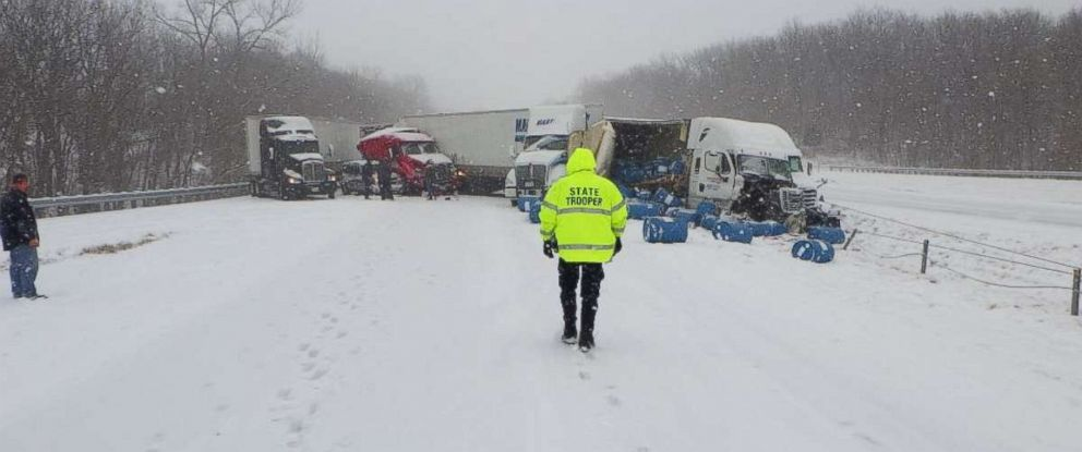 PHOTO: One person was killed in a massive pileup caused by snow on Interstate 70 westbound near Oak Grove, Missouri, on Friday, Feb. 15, 2019.