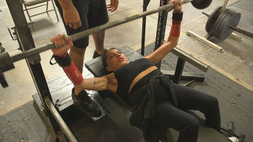 PHOTO: Misty Diaz bench presses more than her own body weight.