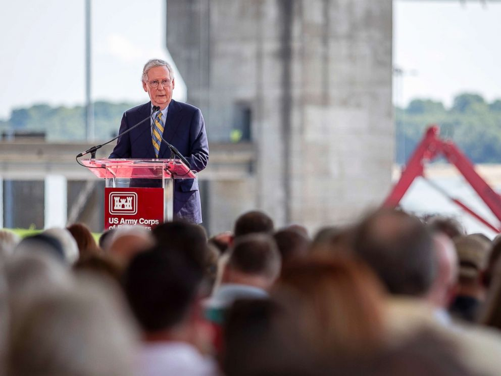PHOTO: Mitch McConnell speaks at a ribbon cutting ceremony in front of the Olmsted Lock and Dam in Olmsted, Ill., Aug. 30, 2018.