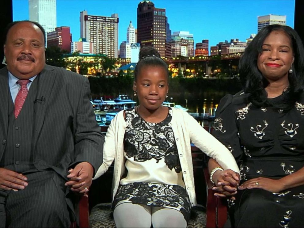 PHOTO: Martin Luther King III, Yolanda Renee King and Arndrea Waters King speak on GMA on the 50th anniversary of the assassination of the Rev. Martin Luther King Jr.