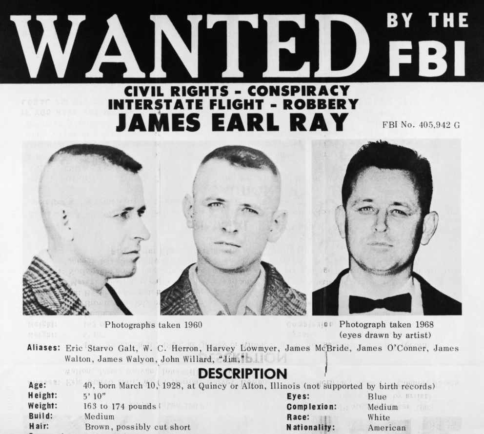 PHOTO: The FBI issued this flyer when they placed the name of James Earl Ray, a Missouri prison escapee sought in connection with the slaying of Dr. Martin Luther King Jr., on its list of Ten Most Wanted Fugitives.