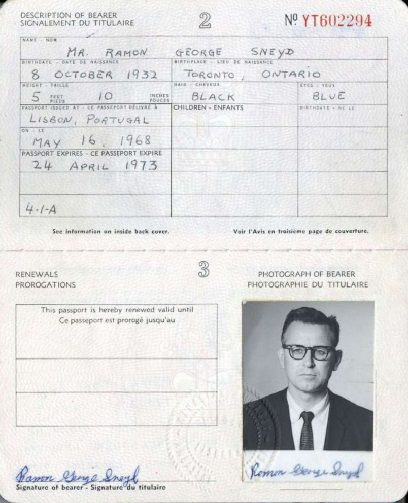 PHOTO: The Canadian Passport that James Earl Ray used under the alias Ramon George Sneyd.
