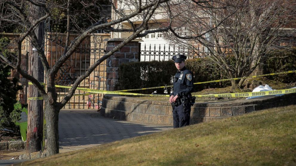 "New York City Police officer is seen at the scene where reported New York Mafia Gambino family crime boss, Francesco ""Franky Boy"" Cali, was killed outside his home in the Staten Island borough of New York, March 14, 2019."