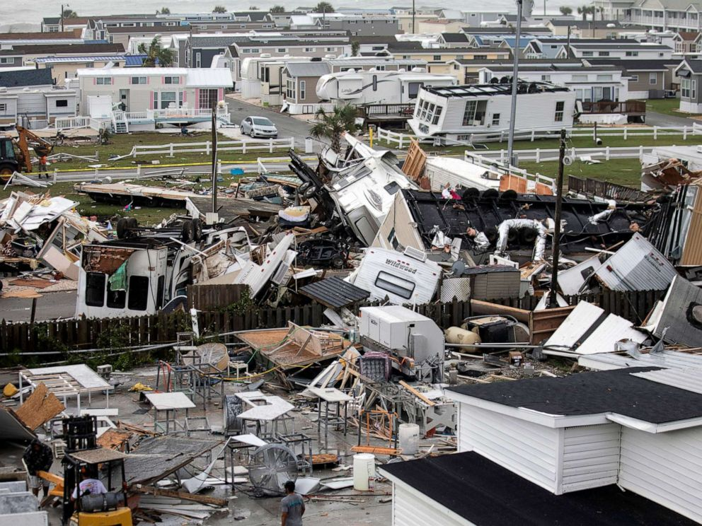 PHOTO: Mobile homes are upended and debris is strewn about at the Holiday Trav-l Park, Sept. 5, 2019, in Emerald Isle, N.C, after a possible tornado generated by Hurricane Dorian struck the area.