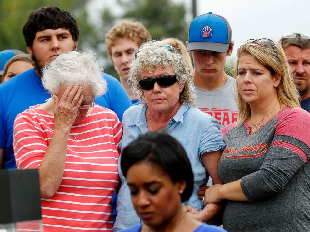 PHOTO: Friends and family of missing University of Iowa student Mollie Tibbetts react during a news conference, Aug. 21, 2018, in Montezuma, Iowa.