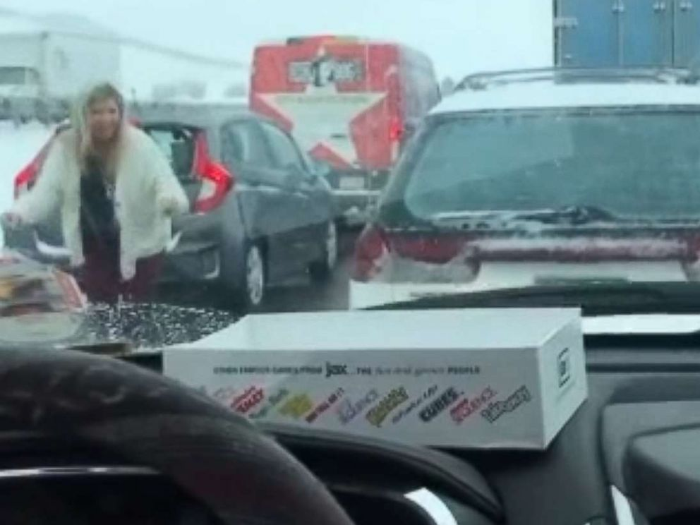 PHOTO: Wendy Gossett dancing to the Backstreet Boys hit Everybody in the middle of stopped traffic goes viral.