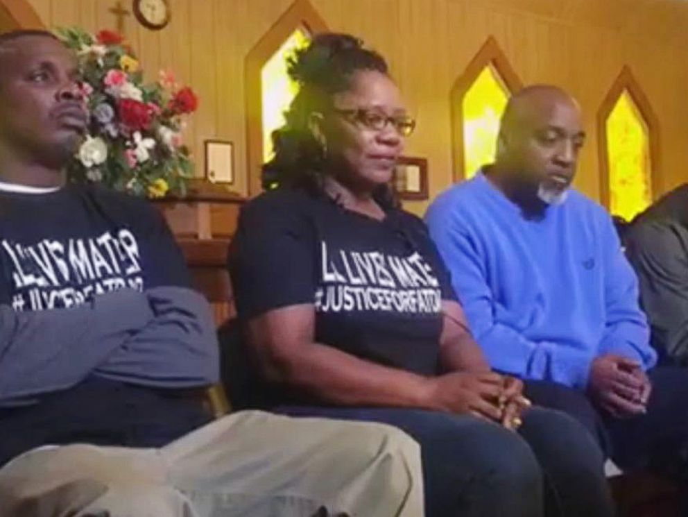 PHOTO: Angela Williams, center, talks to members of the press at the St. Paul AME Church near Troy, Ala., regarding her son, Ulysses Wilkerson, who was hospitalized following an arrest by members of the Troy police force.