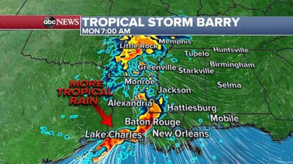 PHOTO: Heavy rain is expected in the Lake Charles, La., area early Monday.