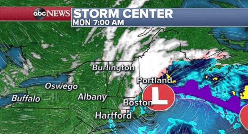 PHOTO: The storm will move off the New England coast by Monday morning.