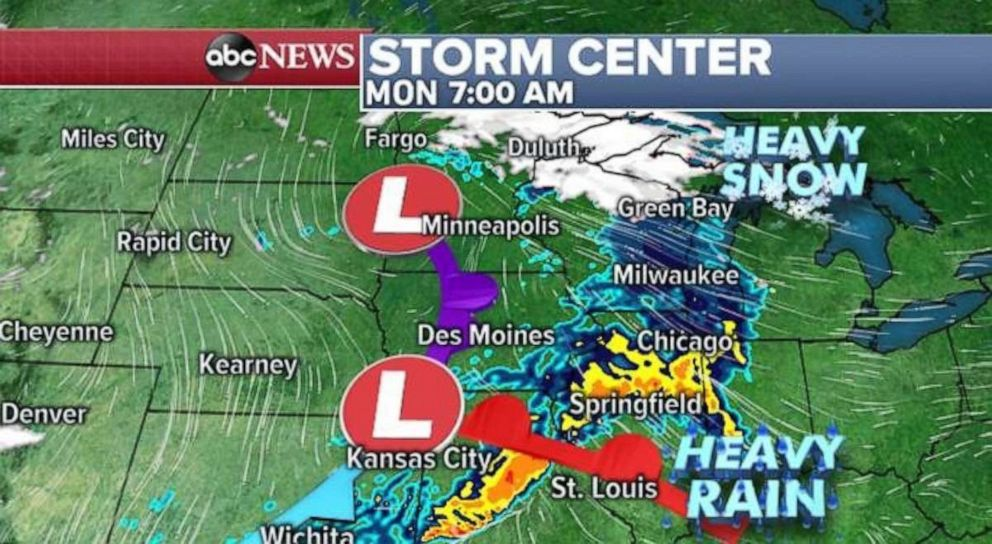 PHOTO: Heavy rain will move through the Midwest on Monday morning.