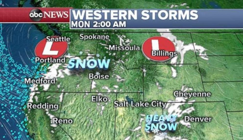 PHOTO: Snow will move into the Northwest overnight into Monday morning.