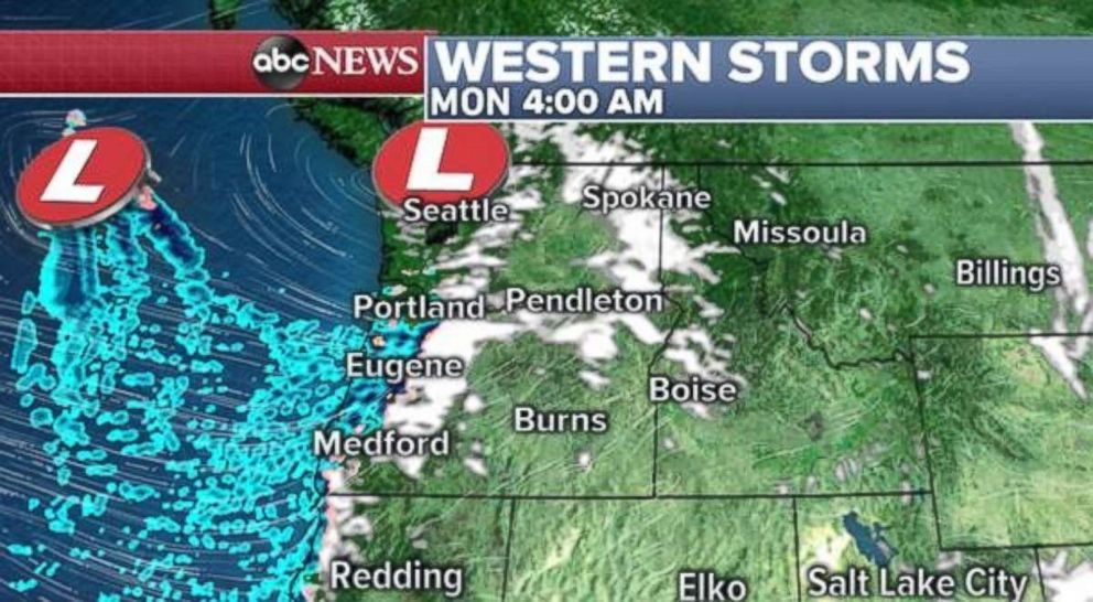 PHOTO: More precipitation will move into the Northwest on Monday morning.