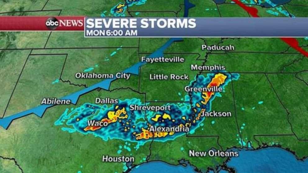 PHOTO: Severe storms are possible in eastern Texas, and northern Louisiana and Mississippi on Monday morning.