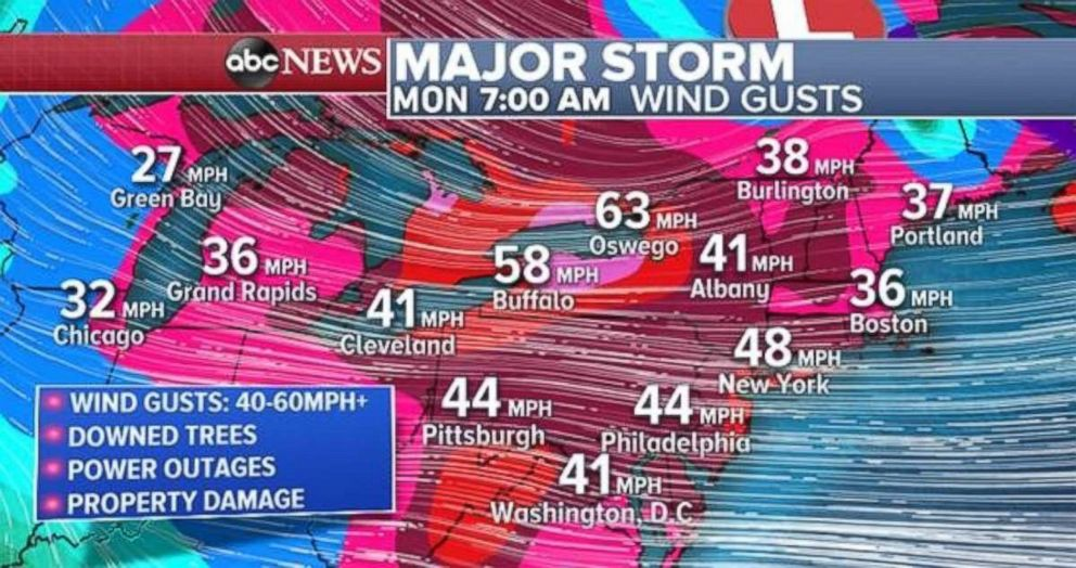 PHOTO: Gusty winds will move into the Northeast on Monday morning with the potential for downed trees, power outages and property damage.