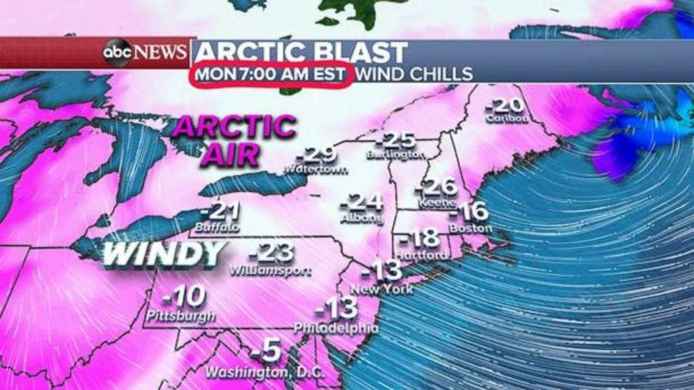 PHOTO: The wind chills on Monday morning will be dangerously low, well below zero, across the whole Northeast.
