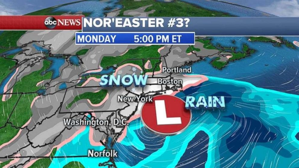 The American model shows snow hitting the Northeast Monday afternoon and evening.