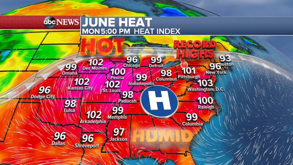 The heat will spread to the East Coast on Monday and possibly brings record highs with