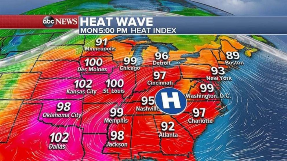 A heat wave will cover the eastern U.S. for the first three days of the work week.