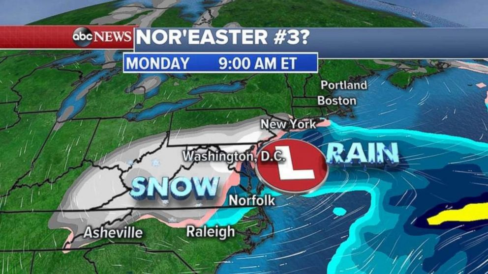 Snow will begin to form Monday morning as the storm approaches the Northeast according to the American model.