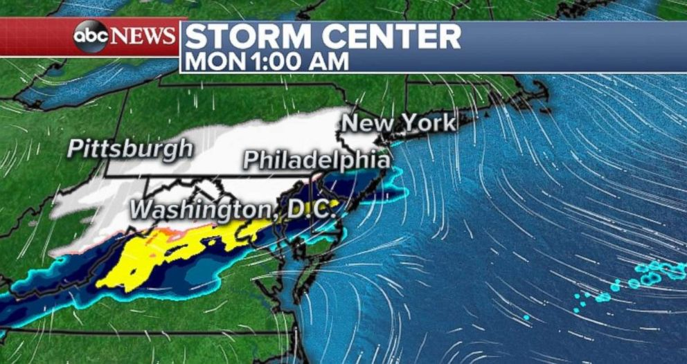 The storm will move into the Northeast overnight into Monday morning.