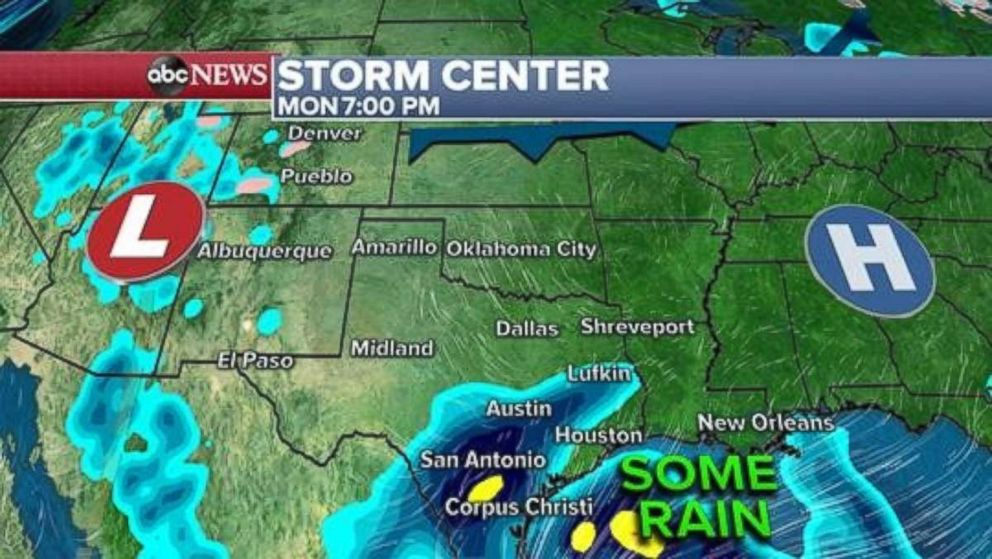 Hard-hit areas of central Texas deluged by rain during the week could see more rain on Monday night.