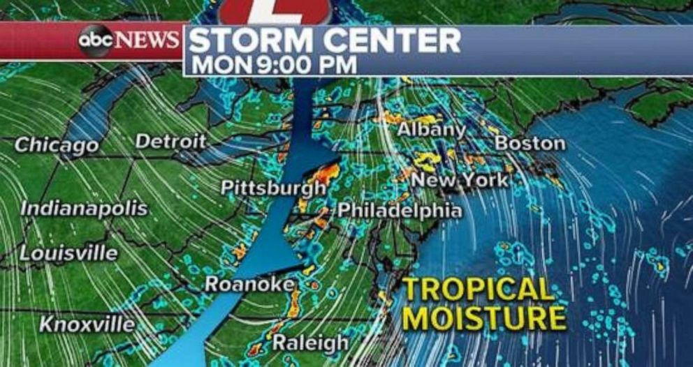 PHOTO: The rain will move into the Northeast on Monday night.
