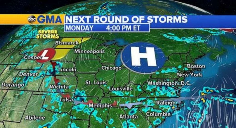 PHOTO: The rainy weather will be worst in the Carolinas on Monday.