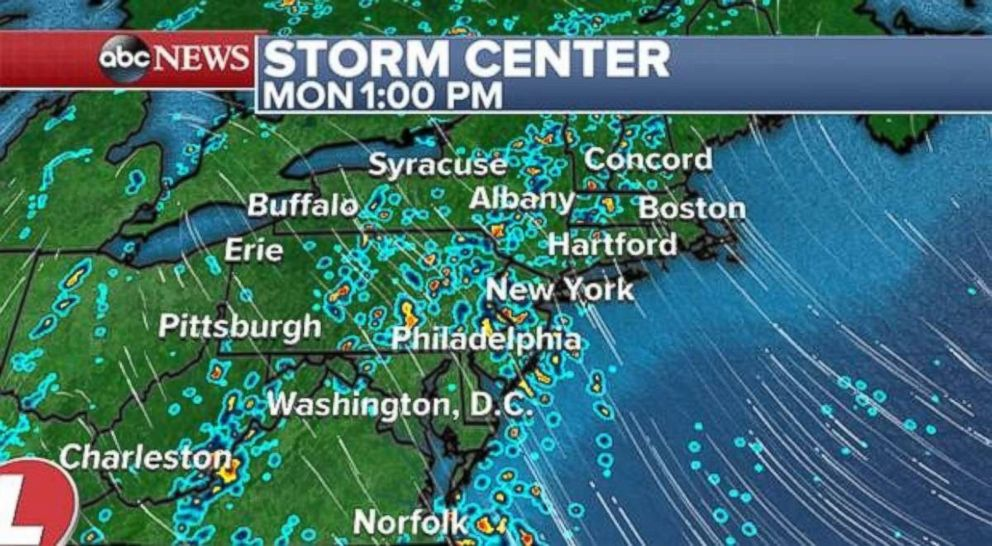 The rain will continue in the Northeast on Monday afternoon.